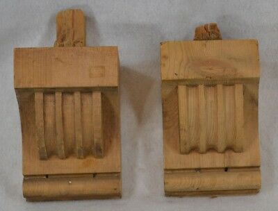 corbels brackets antique natural wood carved  Victorian 1800 pair 7 in.