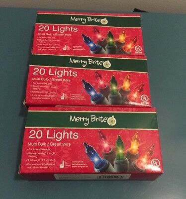 CHRISTMAS Merry Brite 20 count Multi Color mini lights - 3 pack  NEW