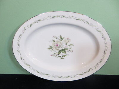 "Diamond China ROMANCE 9"" Oval Serving Relish Tray White Roses Green Gray Scrolls"