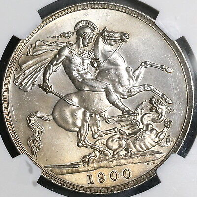 1900 NGC MS 62 Silver Crown Victoria Edge LXIV GREAT BRITAIN Coin (17121101D)