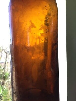 Antique Applied Top Amber Ink Bottle
