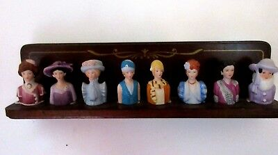 Vtg 1980's AVON FASHION SILHOUETTES 8 Ladies Thimbles w/Mahogany Display Rack