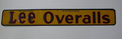 Vintage original 1940's Lee Overalls Tin Litho Sign! Brilliant colors!