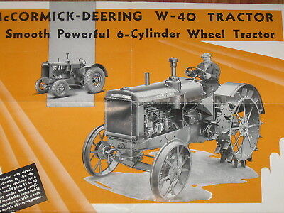 Early International Harvester IHC McCormick Deering W40 Tractor Sales Poster
