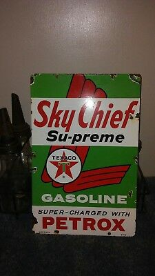 Porcelain Texaco sky chief Sign~Pump Plate~gas~oil~vintage
