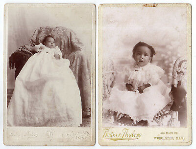 2 Massachusetts, Black Baby & Little Colored Girl Victorian Cabinet Photographs