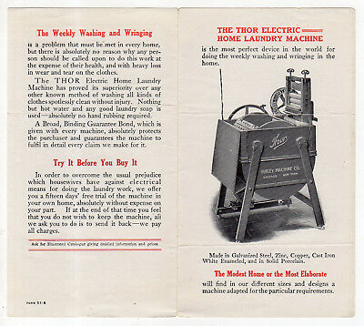 Vintage Folder For The Thor Electric Home Laundry Machine, Hurley Machine Co.