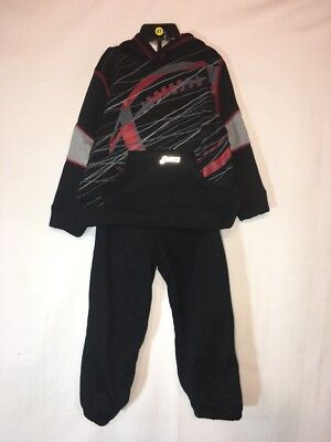 Boy Black & Red Graphic Asics 2pc Track Suit Size 4 Nwt