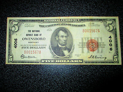 Type 1 National Deposit Bank Owensboro Ky $5 Brown  4006 Currency Note!