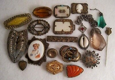 LOT Vintage VICTORIAN & ART DECO JEWELRY FOR PARTS or REPAIR~Gold Filled~Glass