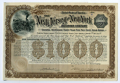 New Jersey and New York Railroad Co., Issued Bond.