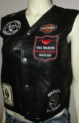 Harley-Davidson Boys/Girls Black Faux-Leather Biker Vest Patches/HD Pin 12 / 14