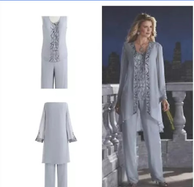 Mother Of The Bride 3 Pieces Pants Suit Chiffon Beach Wedding Groom Dress Long