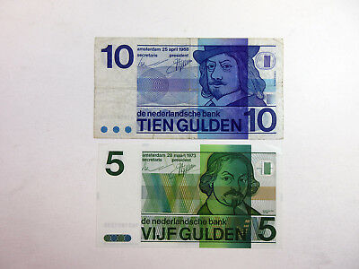 Netherlands 5 Gulden 1973 P-95 Uncirculated + 10 Gulden 1968 P-91 Fine (2 pcs)