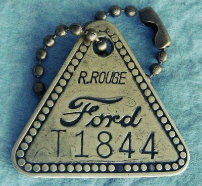 """Uncommon Tool Check Brass Tag: FORD RIVER ROUGE """"T""""; Orig Automotive Factory Tag"""