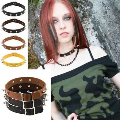 Punk Necklace Lady Gothic Leather Choker Heart Chain Spike Rivet Buckle Collar