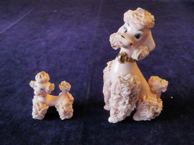 Vtg 1950s PINK POODLE Hand Painted Porcelain Spaghetti Figurine Dog & Puppy  S2