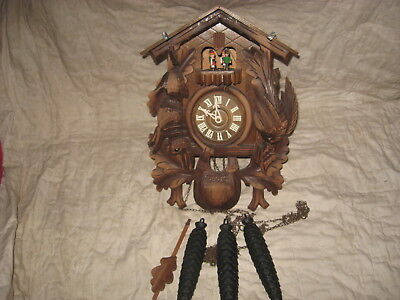 Large German Carved 8 Day Musical Cuckoo Clock With Dancers For Repair