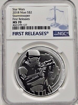 2018 NGC MS70 Niue $2 Stormtrooper First Releases Silver Coin (b150r)