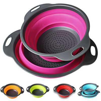 2pcs Set Folding Collapsible Colander Strainer Kitchen Fruit Filter Baskets Kit