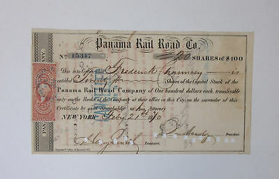 Panama Rail Road Co 1870 Stock Certificate 20 Shares=$2000 Cancelled + Revenue