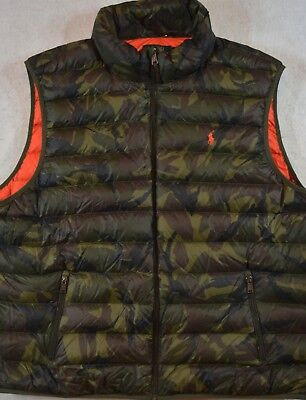 Polo Ralph Lauren Puffer Packable Down Vest Army Olive Camo 3XB & 3XLT 3X NWT