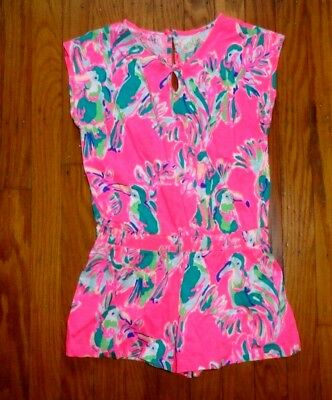 Lilly Pulitzer Pink With Tucans Romper M ( 6 -7) Girls