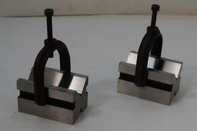 "NEW Pair National Precision Ground V-Blocks and clamps. 1-5/8""x1-3/4""x2-3/4"". #D"