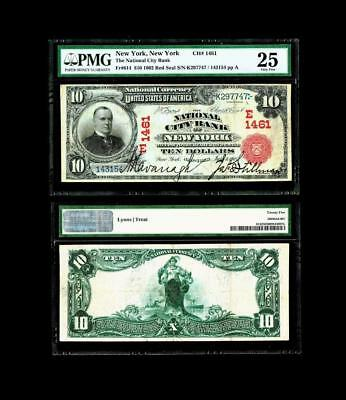New York NY  $10 1902 Red Seal Fr 614 The National City Bank Ch. # (E)1461~PMG25