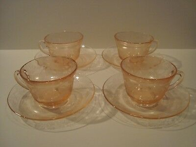 Set of 4 MacBeth Evans Pink Depression Glass Dogwood Apple Blossom Cups Saucers