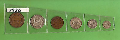 #c27.  Australian Coins For 1934, Halfpenny To Florin, All 6 Coins