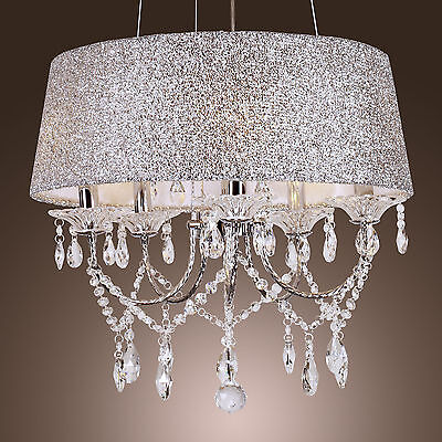 5 Candle Lights Chandelier Drum Shade Pendant Lamp Ceiling Fixture Home Lighting