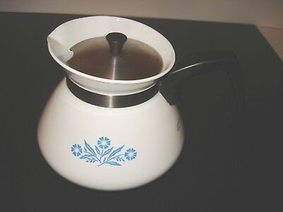 Blue Cornflower Corning Ware 6 Cup Tea Pot P-104 Coffee Hot Water Stovetop