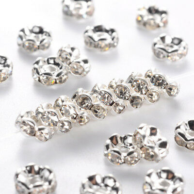 100x Nickel Free Silver Metal Brass Middle East Clear Rhinestone Spacer Bead 6mm