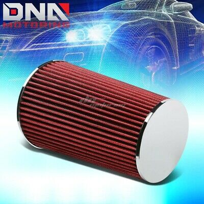 "3""Short Ram/Cold Air Intake Induction 10"" Round Straight Red Cotton Gauze Filter"