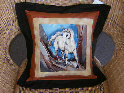 "WESTERN HORSE Pillow Art Quilted Cover ""16 x""16 Handmade OOAK A"
