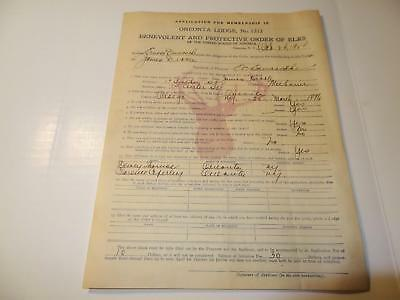 1924 Oneonta Elks Lodge No. 1312 Membership Application, Oneonta,New York