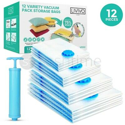 12 Variety Jumbo Vacuum Storage Bags Space Saving Compressed Bags Free Hand Pump