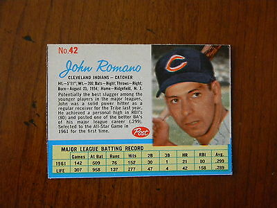 1962 Post Cereal Baseball #42 John Romano Cleveland Indians Ex Aug228