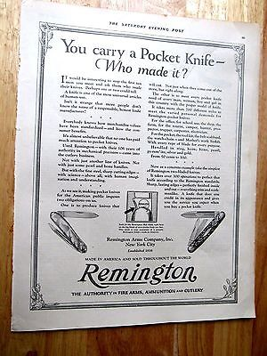 1922 REMINGTON ARMS CO. Pocket Knife Print Ad  10 x13 in