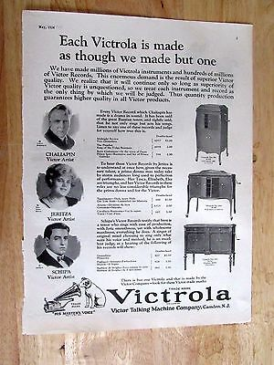 1904 Victor Victrola Phonograph Print ad  10 x 13 inches
