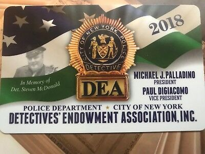 DEA 2018 Card unsigned Only Authentic NYPD detective  (not PBA SBA LBA CEA)