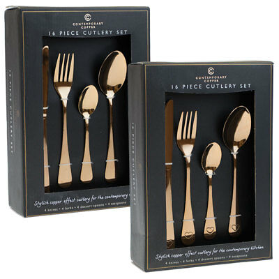 Contemporary Copper 16 Piece Cutlery Set Plain or with Heart Detail