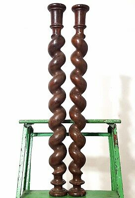 "Spiral Turned Barley Twist Column 25"" Matched Pair Antique French Wood Pillar **"