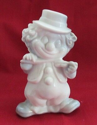 Mosser Art Glass (Rufie) The Fiddle Clown Gray And White Slag