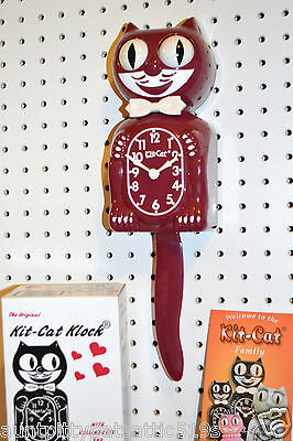 NEW AUTHENTIC ORIG, Kit Cat Clock Burgundy Red Made USA Ship Priority 48 Hrs.