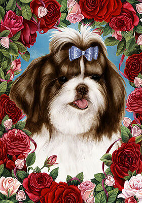 Garden Indoor/Outdoor Roses Flag - Brown & White Shih Tzu 191751