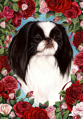 Garden Indoor/Outdoor Roses Flag - Japanese Chin 191331