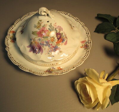 Prov. SXE ES Covered Cheese Dish c1890 Germany Florals w/Gold Accents