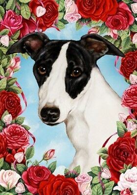 Garden Indoor/Outdoor Roses Flag - Whippet 190621